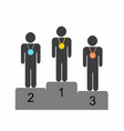 winner athletes standing on the podium vector image