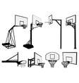 Basketball hoop silhouettes vector image vector image