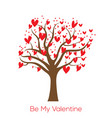 be my valentine card with tree and red hearts vector image