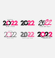 big set 2022 happy new year gold colored logo vector image