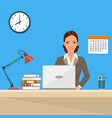 businesswoman sitting desk working laptop vector image
