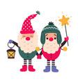 christmas gnomes cartoon characters merry xmas vector image