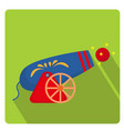 circus cannon icon flat style with long shadows vector image vector image