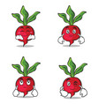 collection radish character cartoon style set vector image vector image