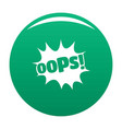 comic boom oops icon green vector image