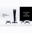 console gaming banner concept with stay at home to vector image vector image