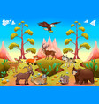 cute mountain animals in the nature vector image vector image