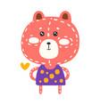 cute pink teddy bear in purple dress standing vector image vector image