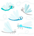 dragonfly big icon set cute cartoon kawaii funny vector image vector image