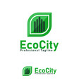 eco city design template logo and symbols vector image