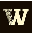 Elegant capital letter W in the style Baroque vector image vector image