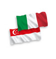 flags italy and singapore on a white background vector image