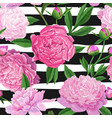 floral seamless pattern with pink peony flowers vector image vector image