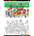 funny children characters group coloring book vector image vector image