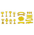 gold awards cups medals set vector image vector image