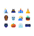 halloween - set of flat design style icons vector image vector image