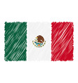 hand drawn national flag of mexico isolated on a vector image
