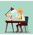 hard working business man with pile of work vector image vector image