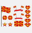 macedonia flag set collection of symbols heart vector image vector image