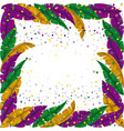 mardi gras frame with feathers and colorful vector image