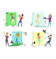 models male and female posing for photos vector image