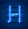 neon font letter h art design signboard vector image vector image