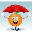 Orange under an umbrella vector image vector image