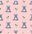 pattern seated gray koalas with twigs vector image vector image