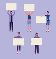 people with posters vector image vector image