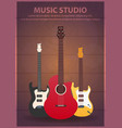 poster with musical instruments music studio vector image vector image