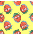 seamless pattern with strawberry cartoon smiling vector image vector image