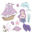 siren mermaid sea ocean summer cruise vector image vector image