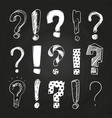 sketch question and exclamation marks on vector image vector image