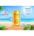 soft drink orange flavor contained in metal can vector image vector image