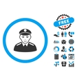 Soldier Flat Icon with Bonus vector image vector image