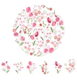 Stylized round template with cute bunches of vector image vector image