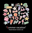 summer setscrapbookfashion patch badges vector image vector image