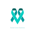 Teal Ribbons Ovarian Cancer Awareness vector image vector image
