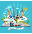 Travel book with trip elements vector image vector image