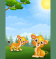 two lion cub cartoon in the jungle vector image vector image