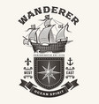 vintage nautical wanderer typography one color vector image vector image