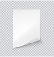 white sheet of paper on transparent background vector image