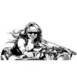 woman motorcyclist vector image