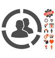 demography diagram icon with love bonus vector image
