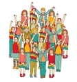 Big group of smiling happy children isolate on vector image