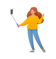 a girl takes a selfie cool happy girl making vector image