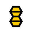 b letter bee hexagon logo template vector image