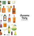 background with alcoholic drinks in glasses vector image