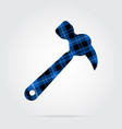 blue black tartan isolated icon - claw hammer vector image vector image