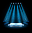 blue spotlights with white podium on dark vector image